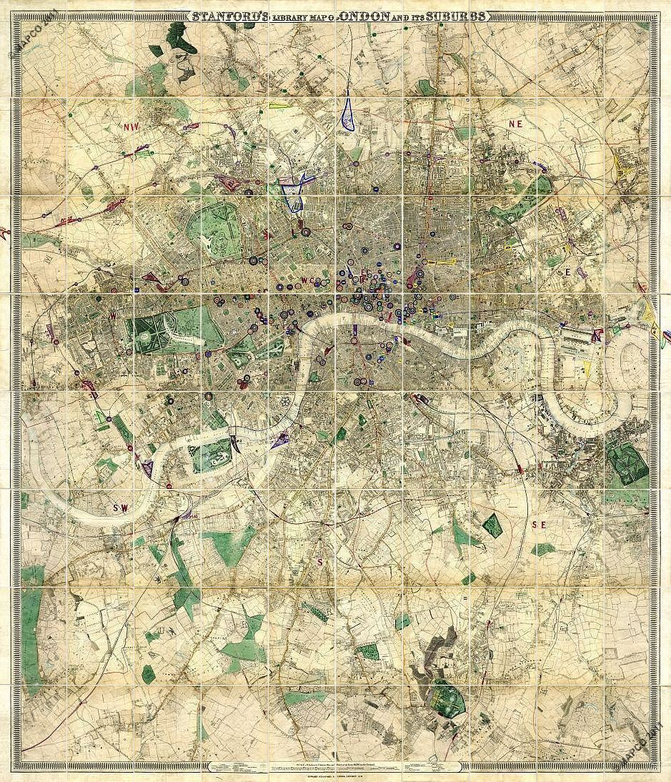 Stanford's Library Map Of London And Its Suburbs 1864 & 1872 >>> CLICK TO ADVANCE >>>