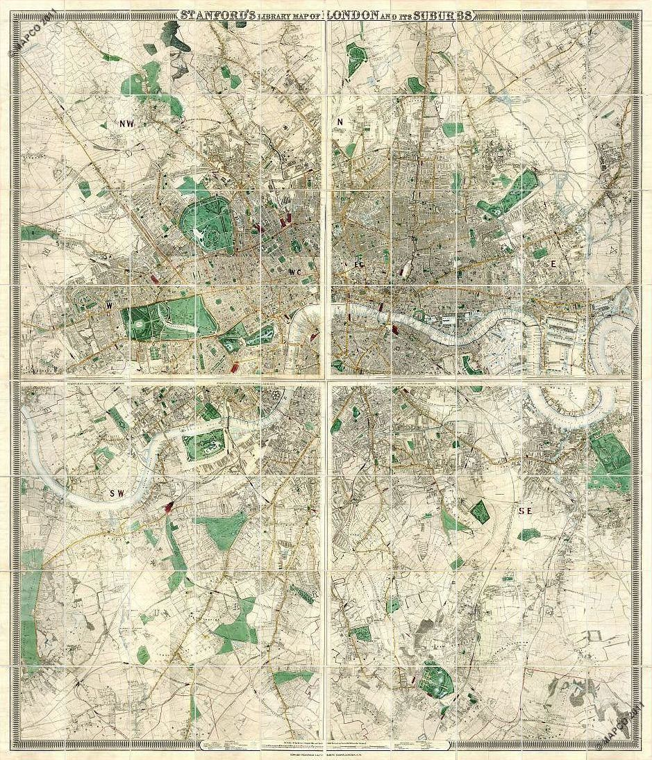 Stanford�s Library Map Of London And Its Suburbs 1872 & 1878 >>> CLICK TO ADVANCE >>>